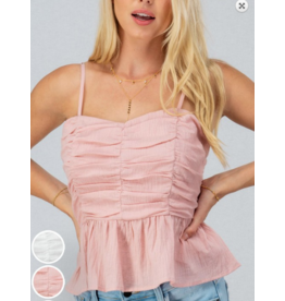 Tops 66 Ruffle Blush Ruched Baby Doll Top