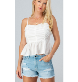 Tops 66 Ruffle White Ruched Baby Doll Top