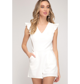 Rompers 48 Pocket Full Of Sunshine White Ruffle Romper