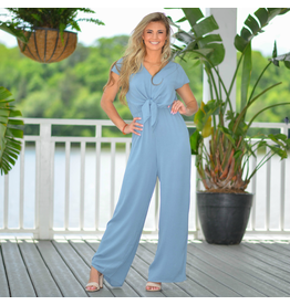 Jumpsuit Celebrate The Moment Blue Tie Front Jumpsuit