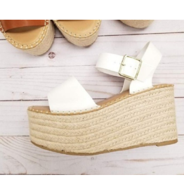 Shoes 54 Spring In My Stride White Platform Espadrille