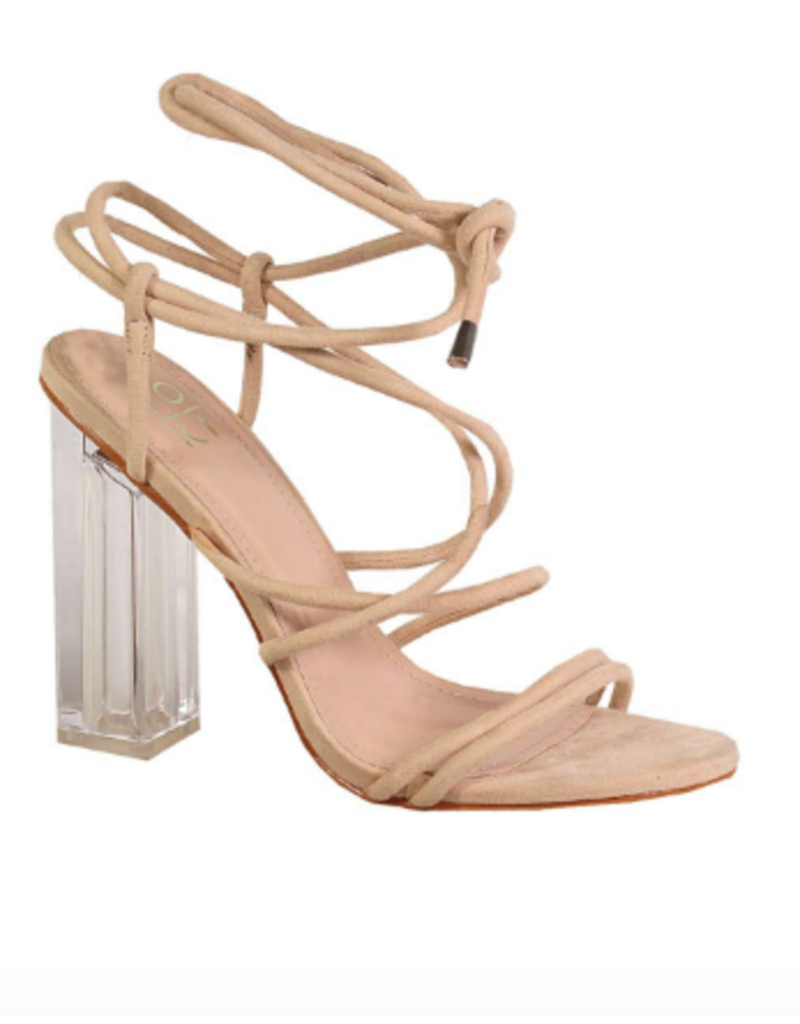 Shoes 54 Dance All Night Clear Wrap Nude Heels