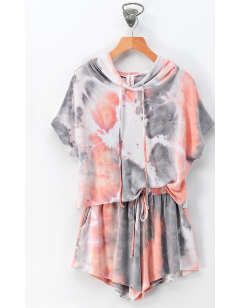 Tops 66 A Place In The Sun Coral Tie Dye Hoodie