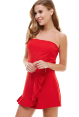 Rompers 48 Darling Red Strapless Ruffle Romper