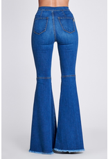 Pants 46 High Waist Rip Knee Medium Wash Flares