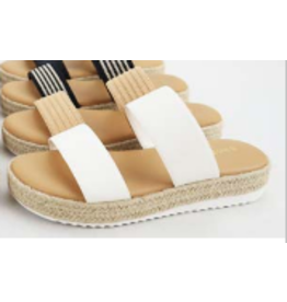 Shoes 54 White Strappy Espadrille Slide