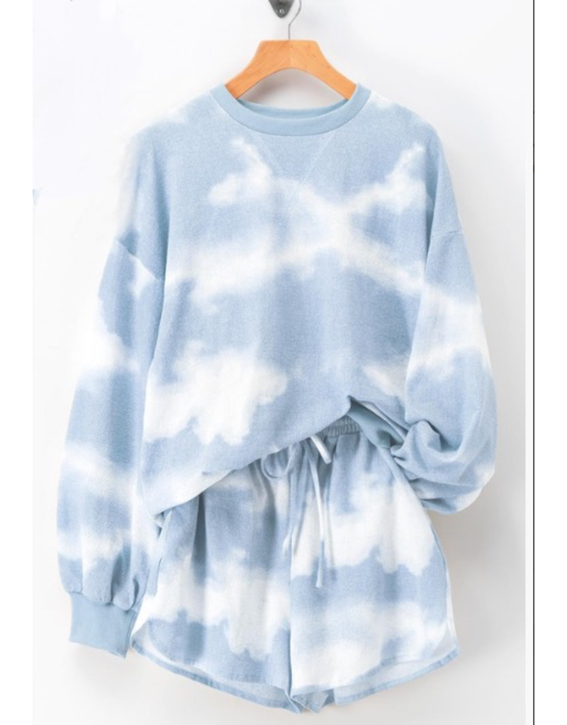 Tops 66 Cloudy Light Blue/White Tie Dye Summer Weight Lounge Top