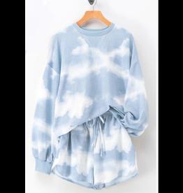 Shorts 58 Cloudy Light Blue/White Tie Dye Shorts