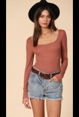 Tops 66 What's The Scoop Long Sleeve Rust Bodysuit