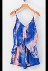 Tops 66 Summer Vibes Blue/Pink Tie Dye Tank