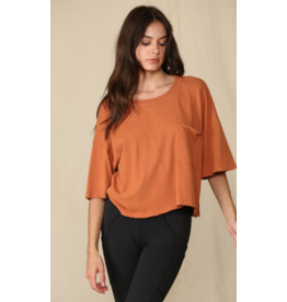 Tops 66 RIght On Rust Crop Tee