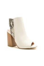 Shoes 54 Sudden Move White Snake Open Toe Bootie