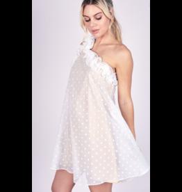 Dresses 22 Dottie One Shoulder White/Nude Ruffle Dress