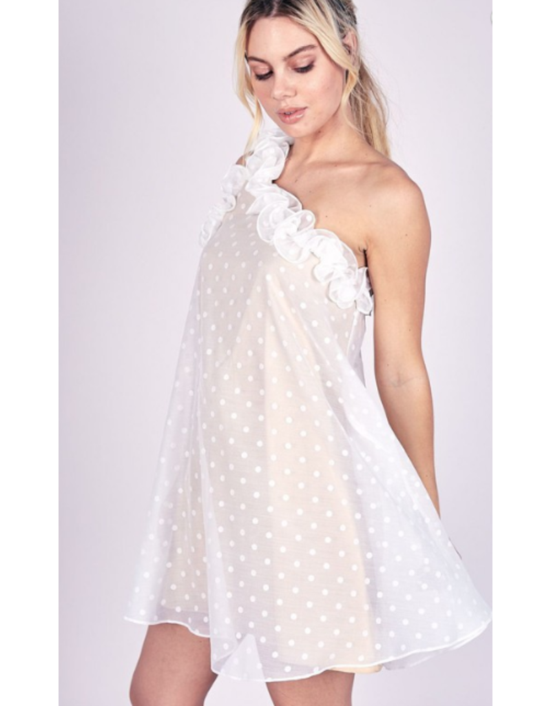 Dresses 22 Dottie One Shoulder White/Nude Ruffle Dress