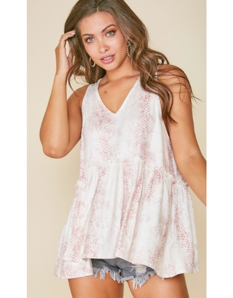 Tops 66 Snake Print Baby Doll Top