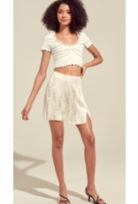 Tops 66 Ruffle Me Up Ivory Crop Top