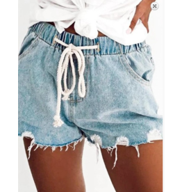 Shorts 58 Take It Easy Light Denim Drawstring Denim Shorts