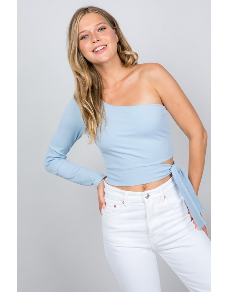 Tops 66 Own It One Shoulder Light Blue Top