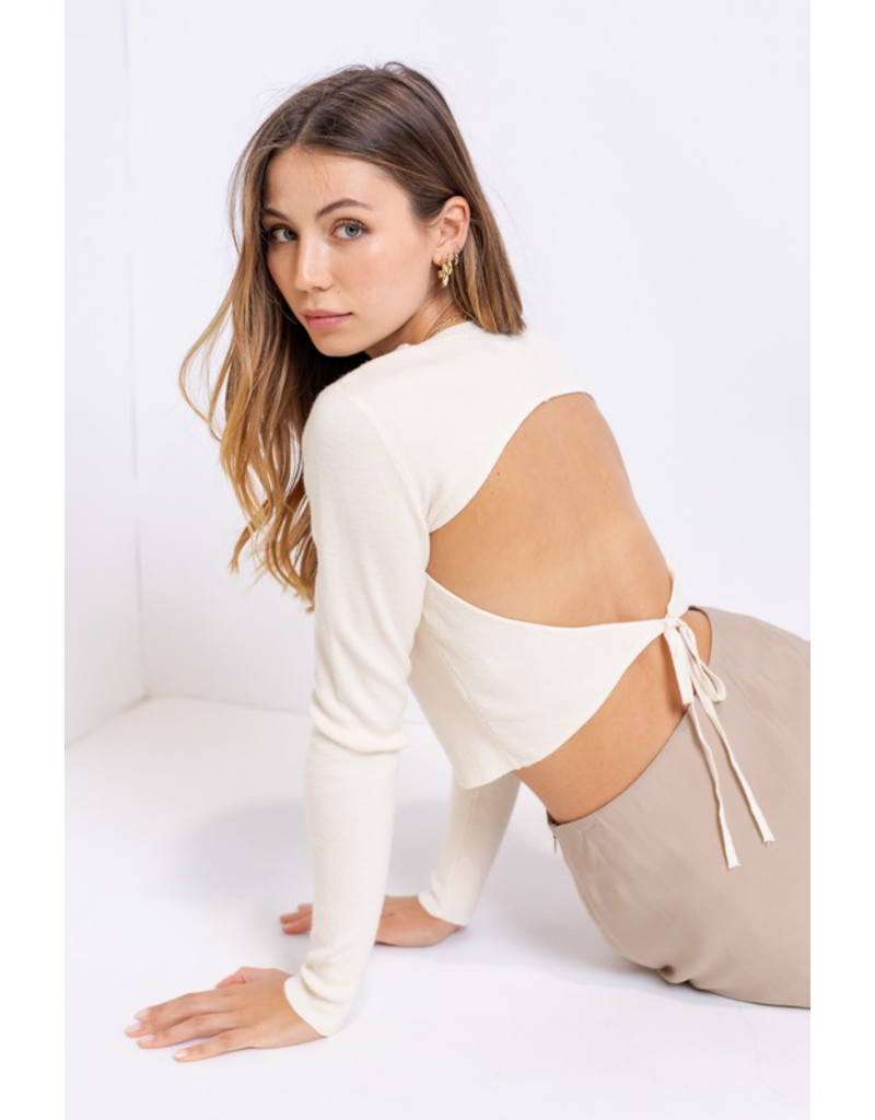 Tops 66 Open To It Ivory Open Back Sweater
