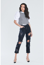 Pants 46 Get Going High Waisted Distressed Black Denim