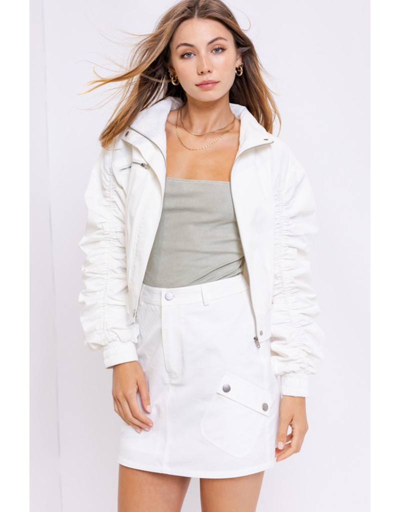 Tops 66 You Da Bomb White Ruched Bomber Jacket