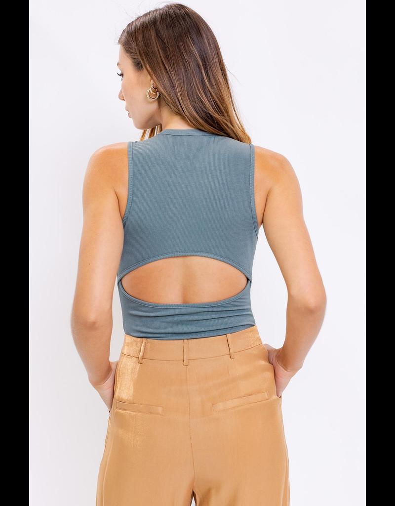 Tops 66 Sage Open Back Bodysuit