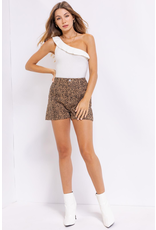 Tops 66 Right On Ruffle One Shoulder Ivory Bodysuit