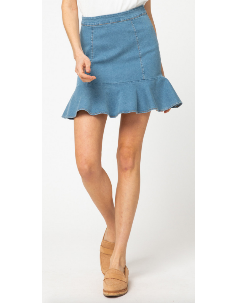 Skirts 62 Right One Ruffle Light Denim Skirt