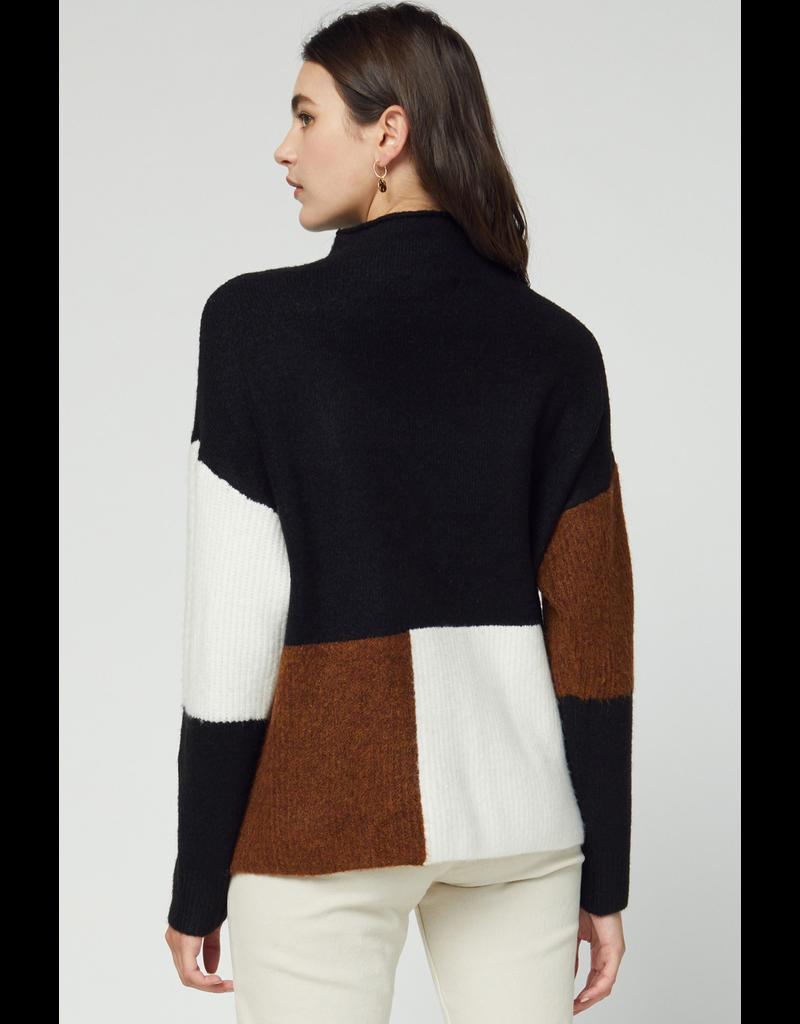 Tops 66 Color Block Combo Black Sweater