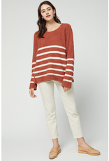 Tops 66 Soft and Comfy Rust Striped Sweater