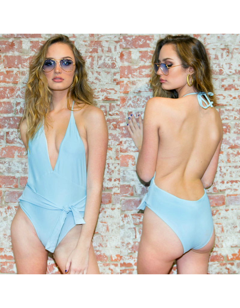 Swimsuits Catching Rays Front Tie Blue One Piece
