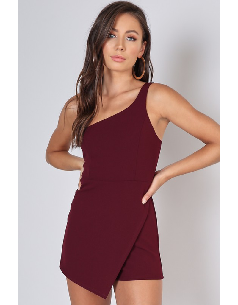 Rompers 48 One Shoulder Burgundy Romper