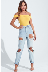 Tops 66 Little Miss Sunshine Off Shoulder Yellow Bodysuit