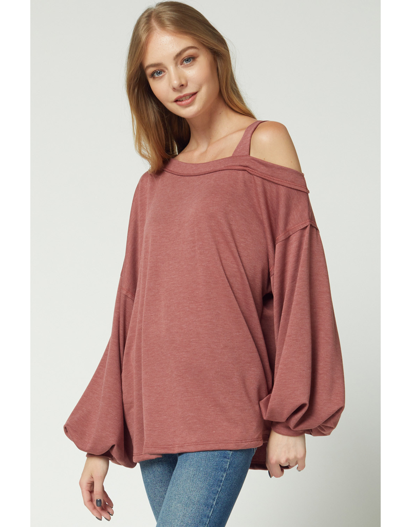 Tops 66 Express Yourself One Shoulder Marsala Top