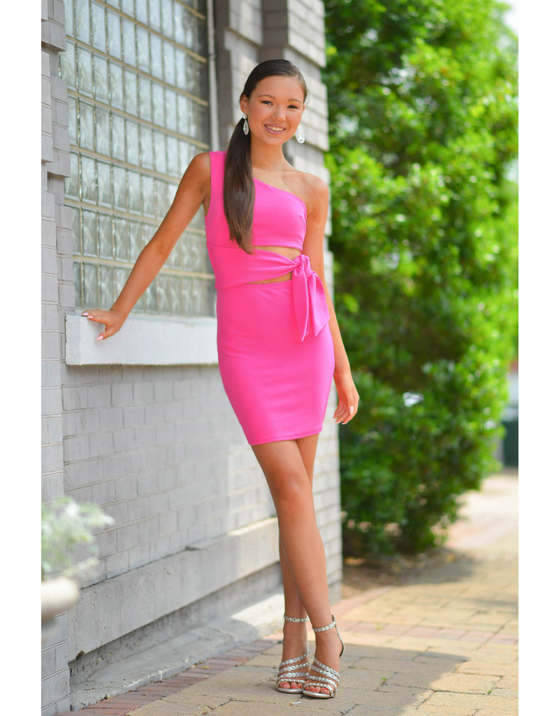 Dresses 22 Best Impression One Shoulder Hot Pink Dress