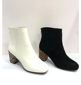 Shoes 54 Black and Leopard Heel Boots