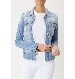 Outerwear KanCan Distressed Denim Medium Wash Jean Jacket