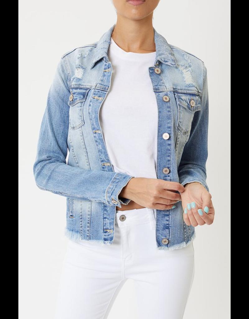 Outerwear KanCan Distressed Denim Medium Wash Jean Jacket