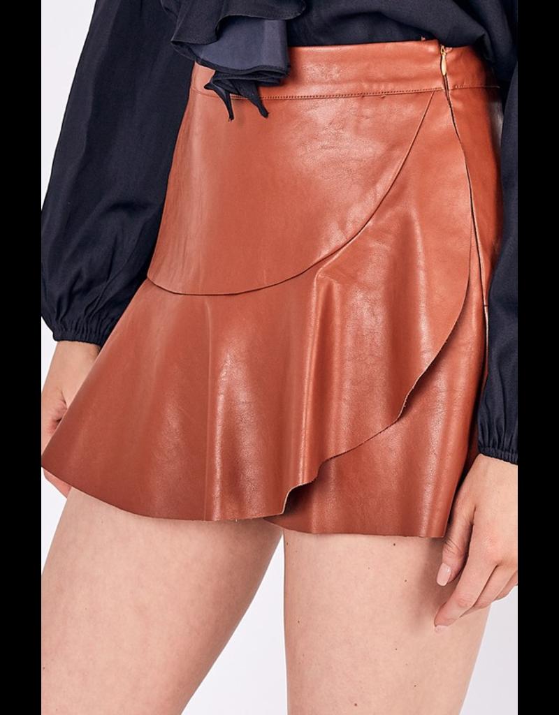 Skirts 62 Ruffle On Tan Leather Skort