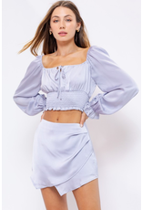 Tops 66 Silver Lining Smocked Satin Top