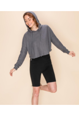Tops 66 Waffle Texture Cropped Charcoal Hoodie
