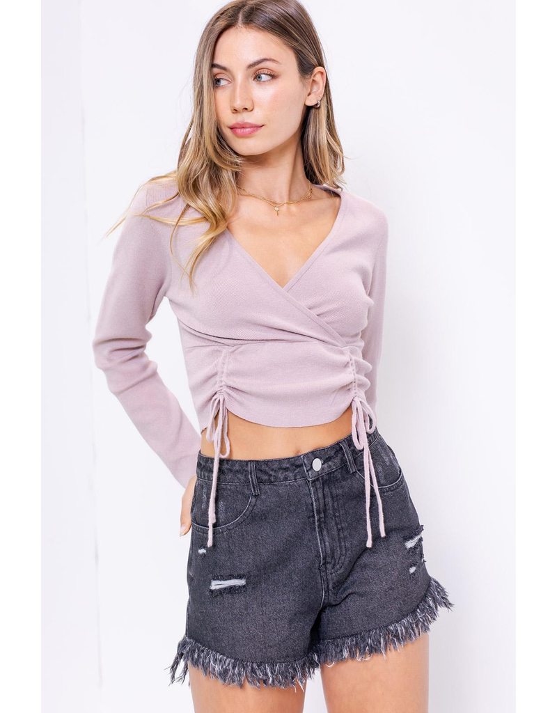 Tops 66 My Jam Dusty Plum Ruched Sweater