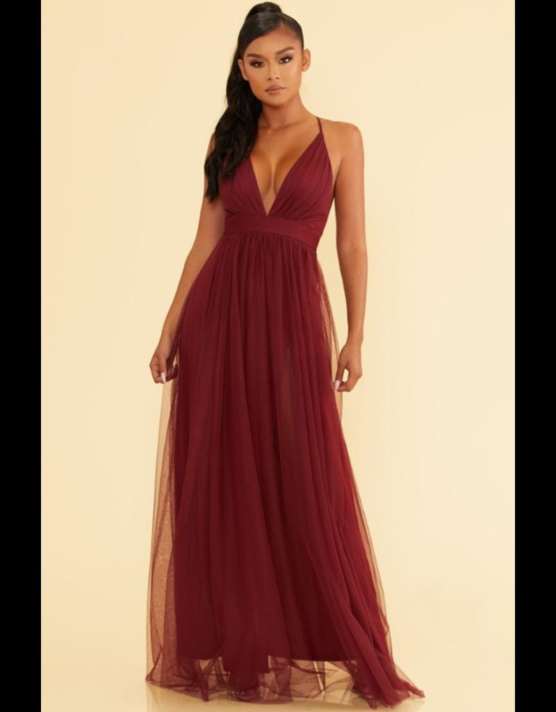 Dresses 22 Swept Away Burgundy Tulle Maxi