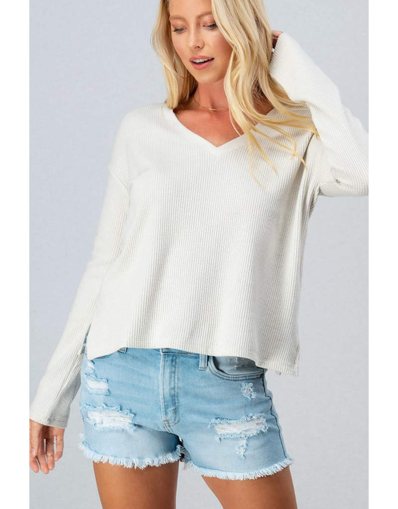 Tops 66 At Your Leisure Comfy Waffle V Neck Top