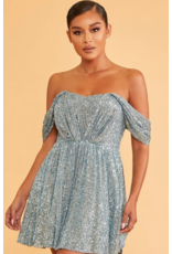Dresses 22 Party All Night Slate Blue Sequin Dress