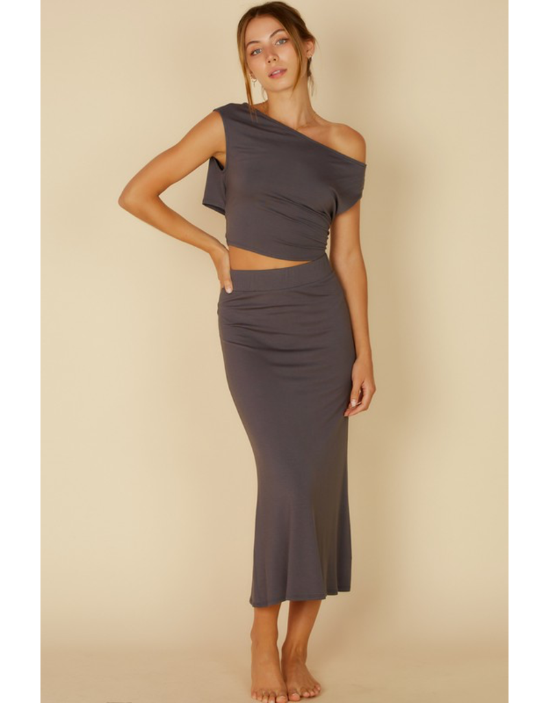 Tops 66 Set On You Charcoal Midi Skirt and Off Shoulder Top Set