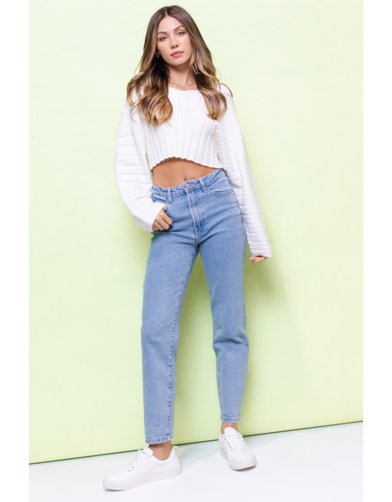 Tops 66 Crop It Ivory V Neck Sweater