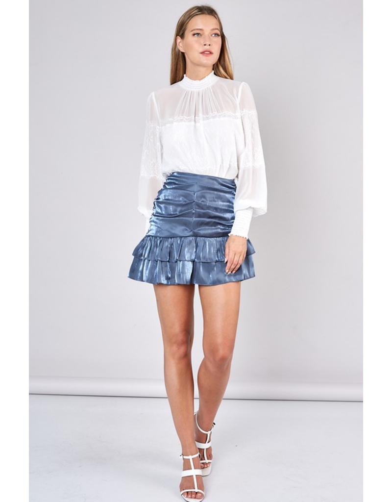 Skirts 62 Party Time Blue Satin Skirt