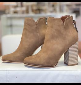 Shoes 54 New Beginnings Tan Wooden Heel Bootie