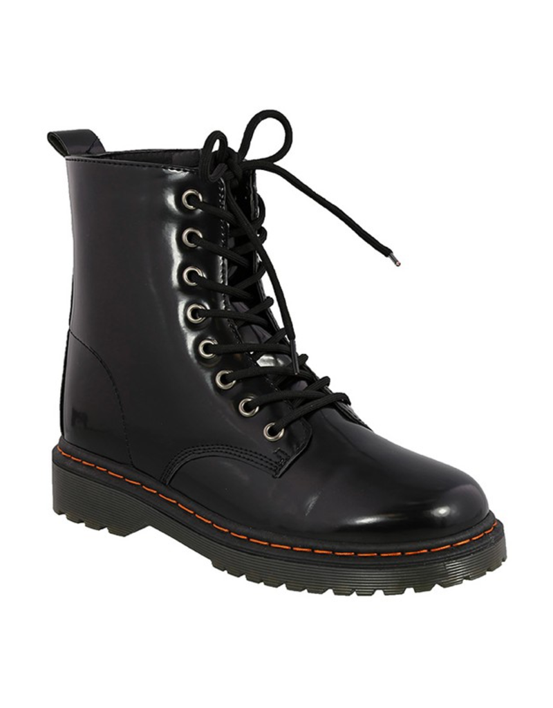 Shiny Black Lace Up Boot - Cousin Couture